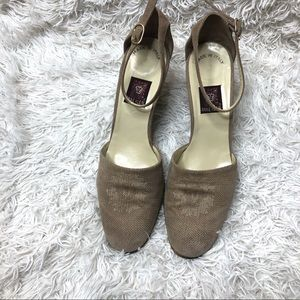 RARE Anne Klein suede heels with ankle strap